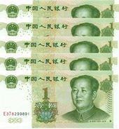 CHINA 1 YUAN 1999 (2004) P-895b I (BFR) PRAFIX FORMAT X#X#. 5 PCS [CN4109b] - China