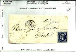 Enveloppe  5 Juill 1861 Bourges Pour  Cholet PC 481  Type 15 N°64 - 1853-1860 Napoléon III