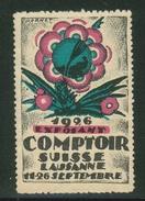 Suisse // Schweiz // Switzerland //  Erinnophilie //  Vignette Du Comptoir Suisse Lausanne 1926 - Erinnophilie