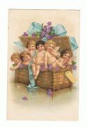 Anges, Angelots Dans Une Corbeille, Malle En Osier Avec Noeud Et Fleurs - 1905 - Ange ( Fr 49) - Engelen