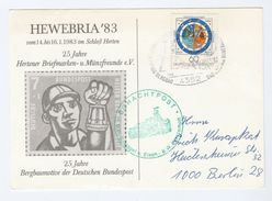1983 Hertner  GERMANY HEWEBRIA EVENT MINING  COVER (card) SCHACHTPOST   Stamps Minerals - Minéraux