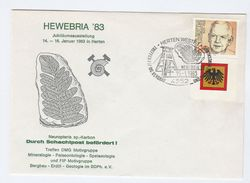 1983 Hewebria PALAENTOLOGY MINEROLOGY EVENT COVER Ilus FOSSIL Minerals Stamps Germany Prehistory Prehistoric - Prehistory