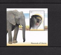 O) 2015 LIBERIA, MONKEY- CERCOPITHECUS, ELEPHANT, SOUVENIR MNH - Liberia