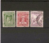 NEWFOUNDLAND 1941 - 1942 2c, 3c, 5c SG 277, 278, 280a PERF 12½ FINE USED - 1908-1947