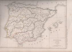 2 CARTES HISPANIA / NUMIDIA ET AFRICA Auctore D'ANVILLE DRESSEES PAR L. DUSSIEUX 1850 - ANTIQUITE - Mapas Geográficas