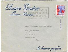 ENVELOPPE A EN-TETE BEURRE GAUTIER LISIEUX CALVADOS - 1921-1960: Période Moderne