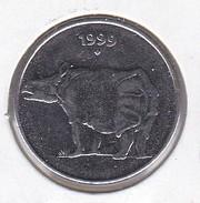 MONEDA DE LA INDIA DE 25 PAISE DEL AÑO 1999 CON UN RINOCERONTE (RHINO) (COIN) SIN CIRCULAR-UNCIRCULATED - India