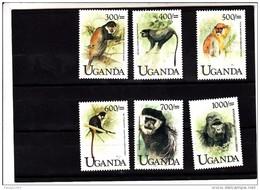 1999 Uganda  Monkeys Primates Gorilla Complete  MNH - Uganda (1962-...)
