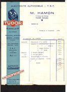 """1954 Facture Entête Electricité Automobile,TSF,Batterie TUDOR """" M.Hamon à Falaise 14 - France"""