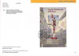 2010 Schweiz Mi. Bl 46 FD-Karte : Tag Der Briefmarke - Bern - FDC