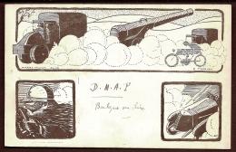 CPA ANCIENNE- MILITARIA- GUERRE 1914-18-  ILLUSTRATION DE HARRY WHIST- CANON TRACTÉ PAR CAMION-  AUTO DE COURSE - Ausrüstung