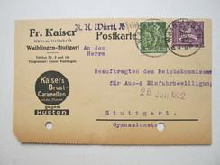 1922 , Waiblingen   Firmenlochung , Perfin , Beleg , Eine Marke Mit Firmenlochung - Briefe U. Dokumente