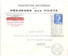 3994 DIJON Lettre Entête Fédération Pêcheurs Aux Filets 20 F Muller Yv 1011B Ob 10 10 1957 - Agriculture
