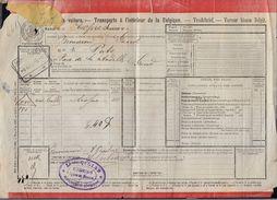 LETTRE DE VOITURE - 1902  GAND > MOUSCRON -- Tarif Express - Tissus Puts - Chemins De Fer