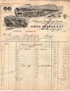 VP10.279 - Facture - Fabrique De Bonneterie Drapée AMOS & Cie à LA NEUVEVILLE LES RAON & WASSELONNE Expo PARIS 1900 - France