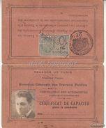 REGENCE De TUNIS_Tessera_CERTIFICAT De CAPACITE' Pour La Conduite Des AUTOMOBILES_Tunis Le 16 JAN 1925-GOOD CONDITION- - Collections