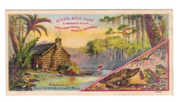 Victorian Trade Card Ayers Ague Cure Fever Malarial Disorders Swamp Alligator Frogs Log Cabin - Trade Cards