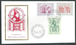1975 VATICANO FDC RE.RU. BIBLIOTECA APOSTOLICA NO TIMBRO ARRIVO - KV2-4 - FDC