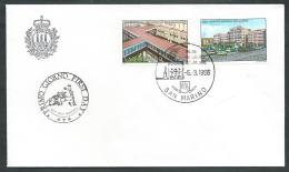 1986 SAN MARINO FDC GIORNATA DELLA SANITA NO TIMBRO ARRIVO - KS3-5 - FDC