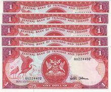TRINIDAD & TOBAGO 1 DOLLAR ND (1997) P-36d UNC SIGN. DOOKERAN 5 PCS [TT211d] - Trinidad & Tobago