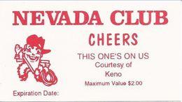 Neveda Club Casino Las Vegas, NV - Early Paper Free Drink Coupon - Casino Cards