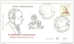 ITALIA - 1974 SASSO MARCONI (BO) 4^ Mostra Fil. Anno Marconiano Su Busta Uffic. (telegrafo Senza Fili, Marconi) - 2811 - Telecom