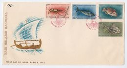 1963  INDONESIA FDC Stamps FISH Cover - Indonesia