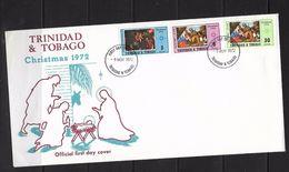 O) 1972 TRINIDAD AND TOBAGO, CHRISTMAS -PAINTING ADORATION ON THE KING, FDC XF - Trinidad & Tobago (1962-...)