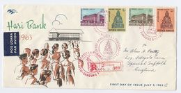 1963 REGISTERED Air Mail INDONESIA FDC Stamps HARI BANK  Cover  Banking Finance - Indonesia