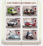 COMORES 2008 SHEET VEHICULES MEDICAUX CROIX ROUGE INTERNATIONALE MEDICAL VEHICLES RED CROSS RESCUE TRANSPORTS Cm8105a - Comoros