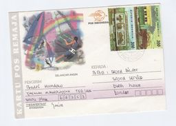 INDONESIA COVER  2x 300  RAILWAY TRAIN Stamps To BBC London GB  Illus WINDSURFING Sport CARD - Indonesia