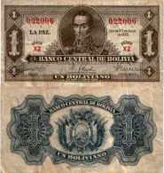Bolivie - Bolivia  1 BOLIVIANO 1928 - Pick 128a TTB (VF) - Bolivia