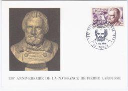 France 1968 Pierre Larousse, Grammarian, Lexicographer, Encyclopaedist, Maximum Card, Toucy - 1960-69
