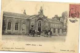 CREPY (Aisne) Gare Diligence Fiacre Recto Verso - France