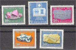 SWITZERLAND. SEMIPOSTALS 1961 MINERALS VF MNH **! - Minéraux