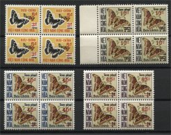 SOUTH VIETNAM - BUTTERFLIES - Complete Set Due Stamps, Never Hinged Blocks Of 4 **! - Viêt-Nam