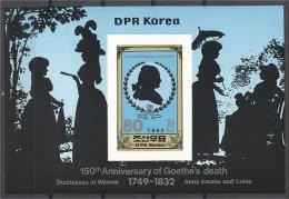 NORTH KOREA, GOETHE SOUVENIR SHEET 1982 MNH - Corée Du Nord