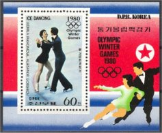 NORTH KOREA, ICE SKATING, SOUVENIR SHEET 1980, MNH - Corée Du Nord