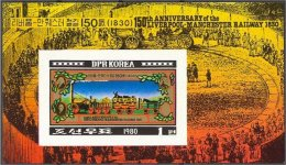 NORTH KOREA, RAILWAY LIVERPOOL-MANCHESTER ANNIVERSARY - Corée Du Nord