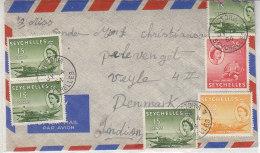 Luftpostbrief Aus VICTORIA 14.1.54 Nach Vejle / Dänemark - Seychellen (...-1976)
