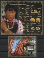 BHUTAN , ORNAMENTS OF BHUTAN (Gyencha) 2 SOUVENIR SHEETS MNH - Bhoutan