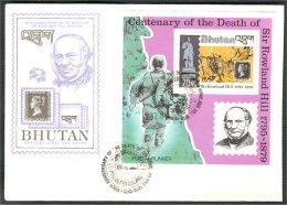 BHUTAN, 100 Centenary Of Death Of Rowland Hill 1979 Sheetlet + Set On FDC! - Bhoutan