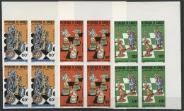 DJIBOUTI, BLOC OF 4,  FULL SET, CHESS WORLD MASTERS, 1986, IMPERFORATED, MNH - Echecs