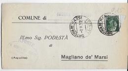 STORIA POSTALE REGNO - ANNULLO FRAZIONARIO ORTONA DE' MARSI 3-103 SU PIEGO  02.08.1932 - 1900-44 Victor Emmanuel III