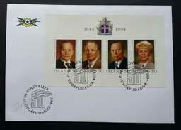 Iceland President 1994 (miniature FDC) - 1944-... Republique