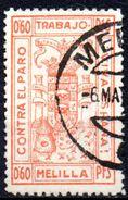Viñeta  Ayuntamiento De Melilla. Contra El Paro. Color Naranja - Viñetas De La Guerra Civil