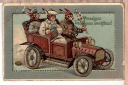 Dressed Easter Rabbits Driven Vintage Car. Embossed Thiele Vintage 1914 Postcard - Thiele, Arthur