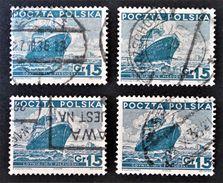 PAQUEBOT PILSUDSKI 1935 - OBLITERES - YT 381 - MI 303 - VARIETES DE TEINTES ET D'OBLITERATIONS - Gebraucht