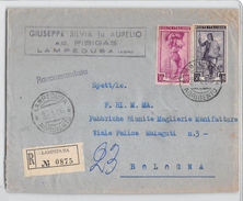 1608 01 AGRIGENTO LAMPEUSA PIBIGAS X BOLOGNA - RACCOMANDATA ANNO 1956 - 1946-60: Marcofilie