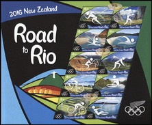 New Zealand. 2016. Road To Rio (MNH OG **) Miniature Sheet - New Zealand